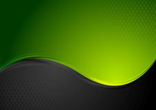 Green and black contrast wavy background Stock Image