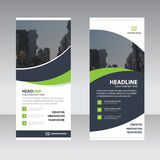 Green black curve astract triangle Business Roll Up Banner flat stock illustration
