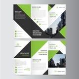 Green black elegance business trifold business Leaflet Brochure Flyer template vector minimal flat design. Set stock illustration