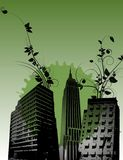 Green black floral city buildings Royalty Free Stock Image