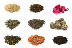 Green, black, floral and herbal tea. Isolated on white background. Nine unique types Stock Photo