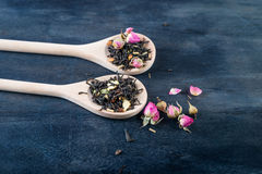 Green, black, floral, herbal  tea leaves Stock Photography