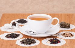 Green, Black And Fruit Loose Tea. On Wooden Table Stock Image