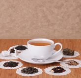 Green, Black And Fruit Loose Tea. On Wooden Table Royalty Free Stock Image
