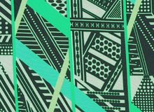 Green and black geometric objects. Colored green and black geometric objects for background, abstract design with lines, illustration for your design stock photos