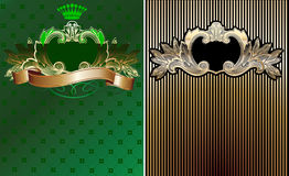 Green, Black And Gold  Ornate Backgrounds. Royalty Free Stock Photos