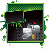 Green and black halftone grungy ad mailbox Royalty Free Stock Images