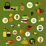 Green, black and herbal tea flat icons Royalty Free Stock Image