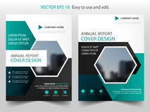 Green black hexagon annual report Brochure design template vector. Business Flyers infographic magazine poster.Abstract layout Royalty Free Stock Images