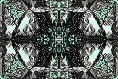 Green and black mirrored pattern. Digital painting of a green and black mirrored pattern with stripes and figures in it stock illustration