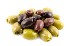 Green and black olives. On white background Royalty Free Stock Photo