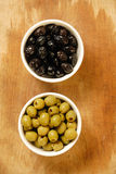 Green and black olives. Food ingredients, Green and black olives Stock Images