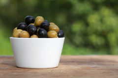Green and black olives Royalty Free Stock Photography