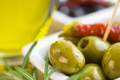 Green and black olives Royalty Free Stock Photo