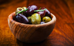 Green and black olives Stock Images