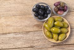 The green and black olives Royalty Free Stock Image