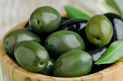 Green and Black Olives. Close up stock photos