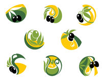 Green and black olives elements Royalty Free Stock Photo