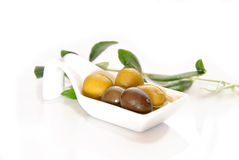Green and black olives Stock Photos