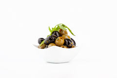 Green and black Olives. Olive Snack Royalty Free Stock Photos