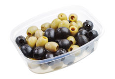 Green and black olives in a plastic packaging Royalty Free Stock Image