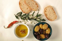 Green and black olives in porcelain bowl with olive oil  with fr. Esh bread, young olive branch , thyme and pepper on white background Royalty Free Stock Images