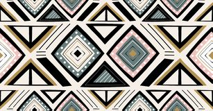 Green black pink gold geometric seamless pattern in African style with square,tribal shape. Green black pink gold geometric seamless pattern in African style stock illustration