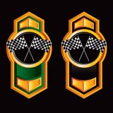 Green and black racing flag buttons Royalty Free Stock Photos