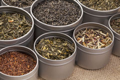 Green,  black and red tea. Samples of loose leaf green, red, black and herbal tea in metal cans on canvas background Stock Image