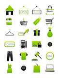 Green-black shopping icons set. Set of 24 green-black shopping icons Stock Photo