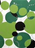 Green black and silver circles with silver lines in background stock photos