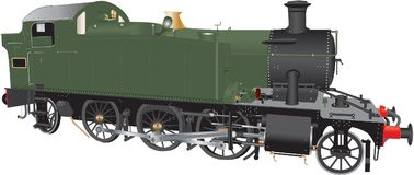 A Green and Black Steam Locomotive Stock Photo