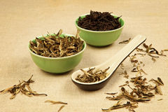 Green and black tea. Dry green tea and black tea leaves arranged on brown background Stock Images