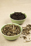 Green and black tea. royalty free stock photo