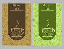 Green black tea cup card illustration. Vector Royalty Free Stock Image
