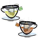 Green and black tea in glass cups Royalty Free Stock Images