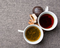 Green and black tea. Hot fragrant green and black tea royalty free stock image