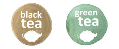 Green and black tea stock illustration