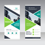 Green black triangle Business Roll Up Banner flat design templat Royalty Free Stock Images