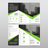 Green black triangle business trifold Leaflet Brochure Flyer rep. Ort template vector minimal flat design set, abstract three fold presentation layout templates Royalty Free Stock Photos