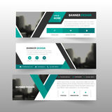 Green black triangle corporate business banner template, horizontal advertising business banner layout template flat design set Stock Image