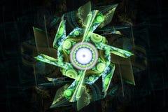 Green black waves fractal fraktal wallpaper background animated geometric shapes pattern. Book cover or any concept stock illustration