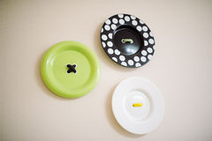 Green, black and white plates Royalty Free Stock Photos