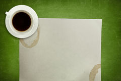 Green blackboard background with coffee cup and Royalty Free Stock Photo