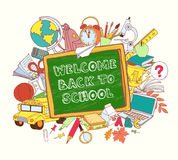 Green blackboard frame greeting card welcome back to school with Royalty Free Stock Images