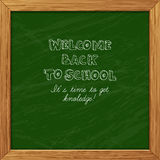Green blackboard greeting card welcome back to school with woode Stock Photo