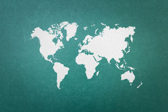 Green blackboard wall texture with world map Stock Image