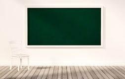 Green blackboard on white wall, with white chair on wooden floor, 3d rendered Royalty Free Stock Image
