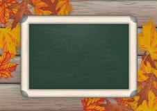 Green Blackboard Wood Autumn Foliage Stock Photography