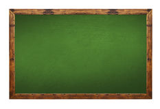 Green blackboard in wooden frame with eraser and chalk Royalty Free Stock Image